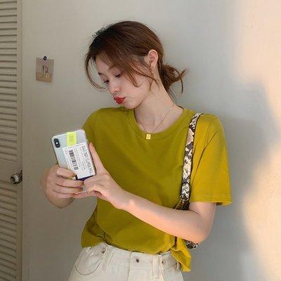 上衣2020新款女夏裝韓版chic簡約氣質純色圓領修身洋氣百搭T恤潮