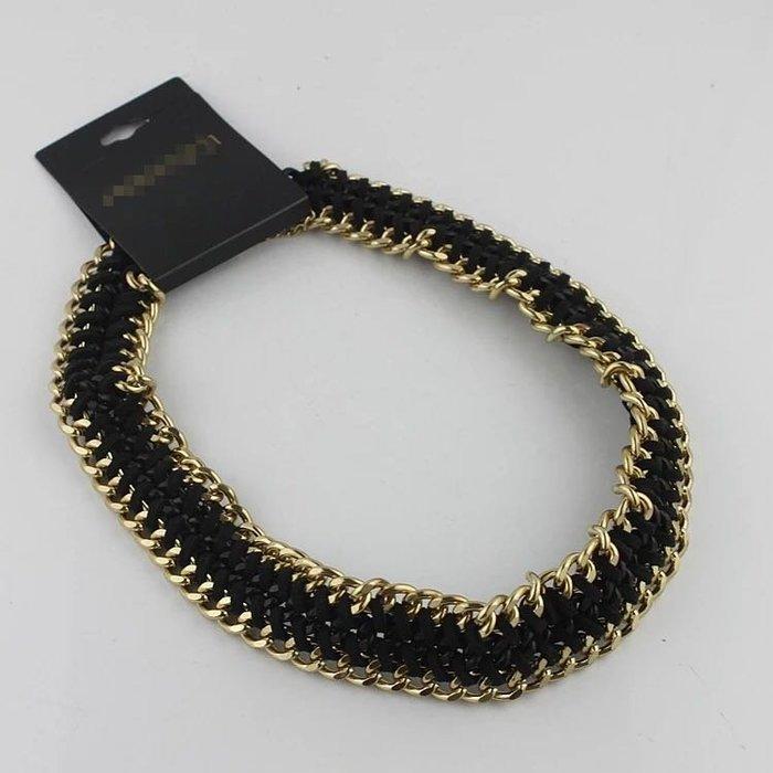 外銷歐美飾品💃歐美時尚潮流項鍊飾品鏈子編繩黑色寬項鍊女大氣短款毛衣鏈促銷潮流配飾新品