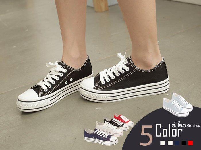 格子舖*【KA2033】日韓系心機款高品質素面增高3.5CM厚底帆布鞋 5色現貨