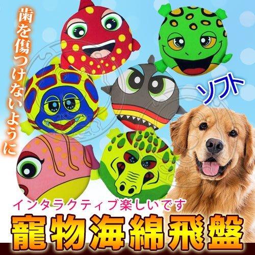 【🐱🐶培菓寵物48H出貨🐰🐹】dyy》卡通海底世界寵物海綿飛盤-直徑20cm(不傷牙齒)隨機出貨 特價69元 蝦