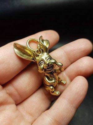黃銅實心 兔子掛件/小擺件 ※ 銅雕/掛飾/鑰匙/吊墜/生肖