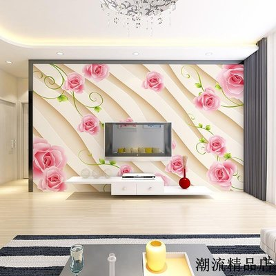 無縫歐式溫馨浪漫玫瑰花卉壁紙客廳臥室沙發電視背景墻紙壁畫