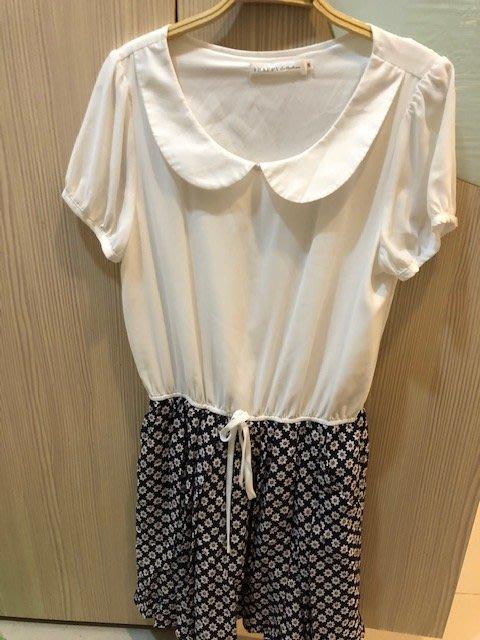 小花別針、專櫃【8 happy】白色雪紡連身裙洋裝