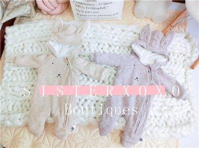 Sisterxoxo 歐美 韓國 超萌可愛寶寶兔子內裡鋪絨保暖加厚連身衣 0-3歲男寶寶女寶寶中性款 連身衣 兔裝 兩色