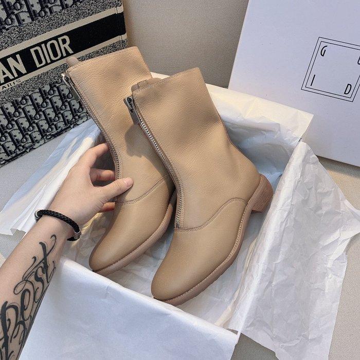 GD鬼帝310前拉鏈短靴馬丁靴 英倫風短靴春秋單靴 女薄款女中筒靴