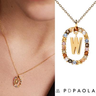 PD PAOLA 西班牙時尚潮牌 金色W字母項鍊 彩寶橢圓形項鍊 925純銀鑲18K金