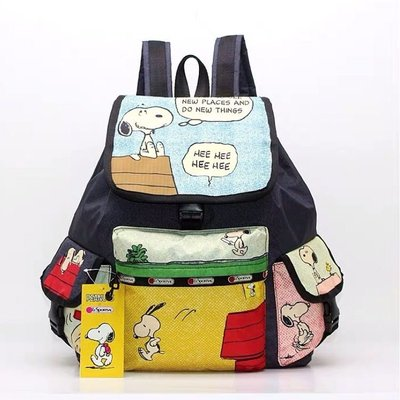 現貨 美國 Lesportsac x Snoopy 漫畫史努比限定款雙肩降落傘防水後背包 7839 特價回饋