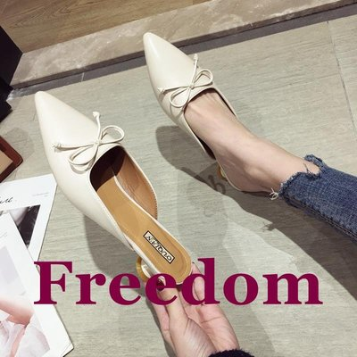 Freedom女鞋拖鞋女2019夏季新款尖頭蝴蝶結中跟半拖鞋正韓時尚百搭包頭涼拖鞋