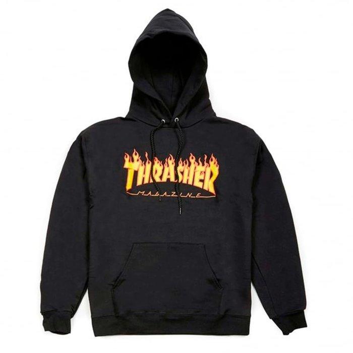 THRASHER FLAME HOOD-BLACK【HopesTaiwan】