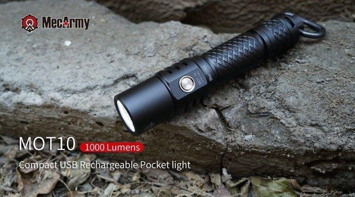 【angel 精品館 】MecArmy MOT10 1000流明USB充電式強光手電筒(贈原廠18650 2600mah