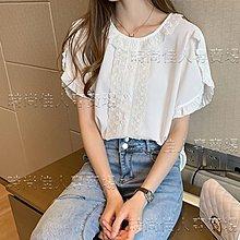 時尚佳人= 白色雪紡衫女短袖夏季新款韓版設計感小眾寬鬆遮肚子蕾絲小衫 =打底衫/短袖/襯衫/圓領V領/雪紡衫/長袖/背心