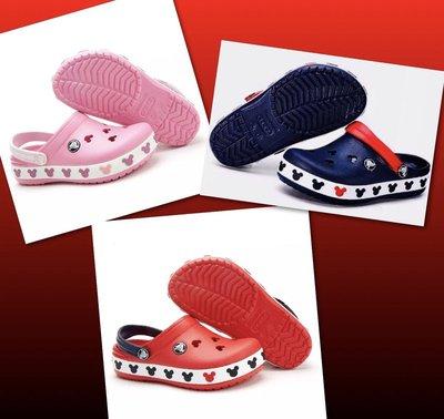 @@ 全新 Crocs 卡洛馳 米奇洞洞鞋 沙灘鞋 紅色 、粉色 童鞋尺碼 送鞋扣 @@