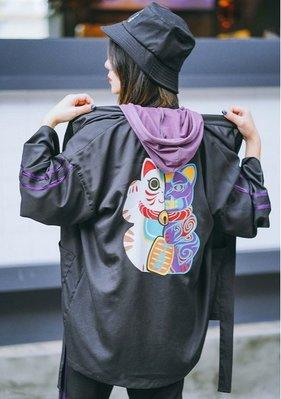 【黑店】原創設計 和風招財貓浴衣罩衫 招財貓綁帶羽織浴衣外套 雪紡開襟綁帶小外套 日式和風小外套 KK118