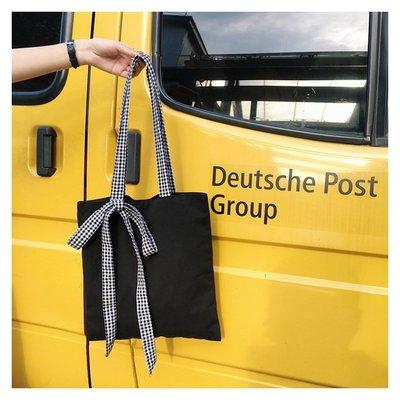 【Lady luck包包】經典赫本風黑chic帆布包單肩包bag蝴蝶結女包帆布手提包布包