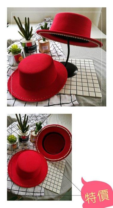 東大門平價鋪   韓國珍珠毛呢平頂禮帽,女釘珠大沿遮陽帽韓版戶外平檐帽子