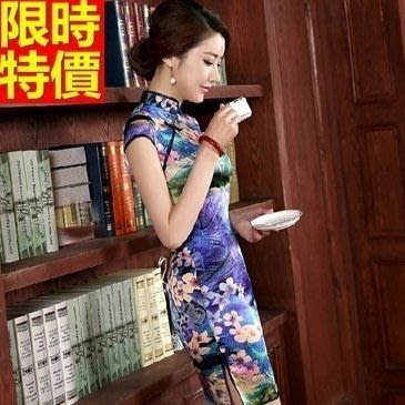 旗袍 真絲短禮服-唐裝 復古中國風改良式典雅連身裙68p8[獨家進口][巴黎精品]