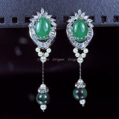 珍珠林~三折出清特價~垂吊式蛋面翠玉珍珠針式耳環 #485
