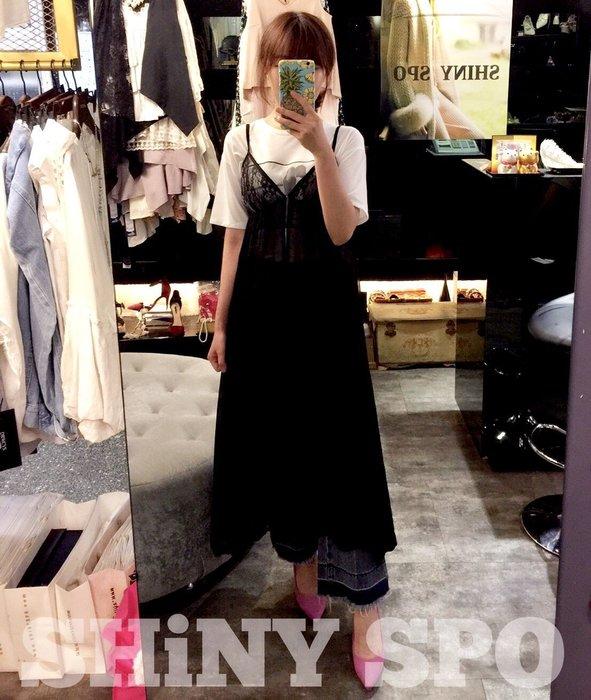 SHINY SPO獨家代理日本品牌Lainey簡約時尚透膚蕾絲拼接雪紡縮腰顯瘦百搭造型單品無袖細肩帶背心長洋裝