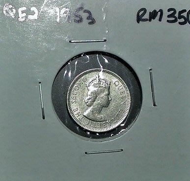 原光 1953 年 伊麗莎白二世 英屬 馬來亞 Malaya 馬來西亞 婆羅洲 5分 cents 古 錢幣