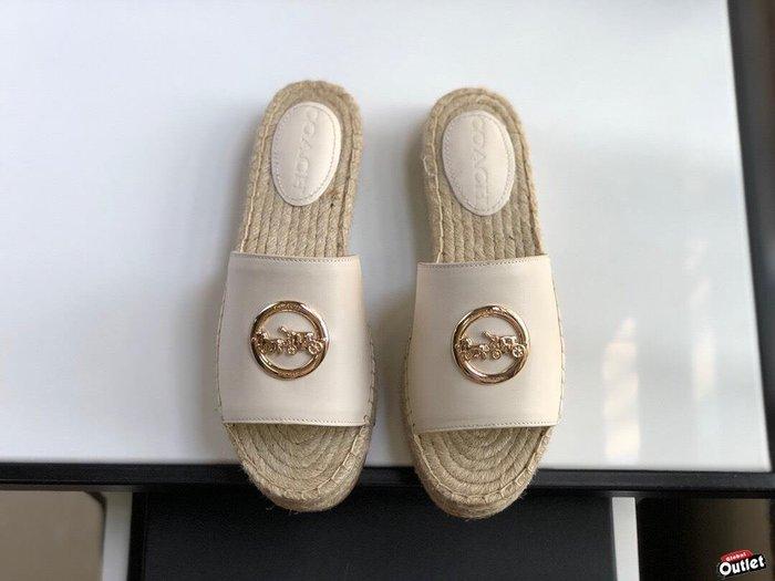 【全球購.COM】COACH 寇馳 2020新款 拖鞋 五金屬馬車LOGO 休閒鞋1 時尚精品 美國連線代購