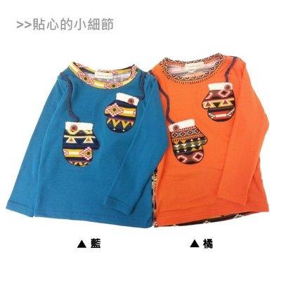 【班比納精品童裝】幾何圖騰手套棉T-橘...
