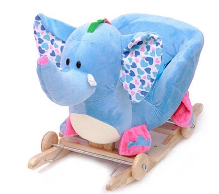 【易發生活館】新品熱賣戀小豬 兒童早教玩具禮物大象實木搖搖馬木馬寶寶嬰兒搖椅帶音樂~送禮最佳首選