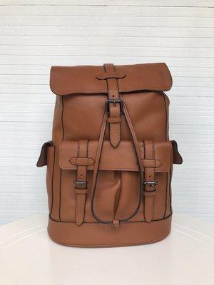 COACH 23202 Hudson Backpack 男士新款後背包登山包 素面全皮 簡約時尚
