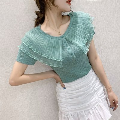 Meili時尚館Ice silk mesh assembly frilled silk blouse fashionable