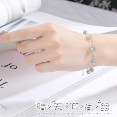 s925純銀月光石手鍊女韓版簡約個性學生森系氣質冷淡風chic手飾串