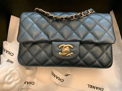 Chanel coco20 珠光藍 金