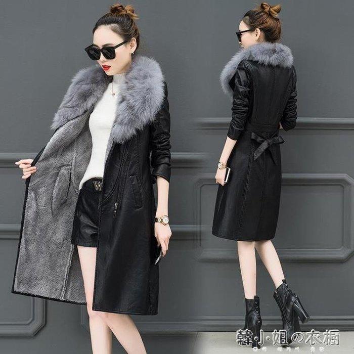 冬季皮衣女加絨加厚中長款韓版新款修身顯瘦收腰大毛領皮外套