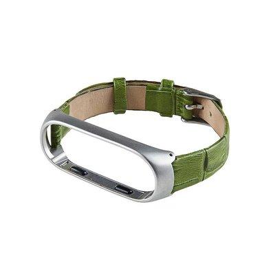 ?小米手環3/4?鱷魚紋真皮錶帶 MI3 (蘋果綠)米蘭尼斯磁吸金屬腕帶
