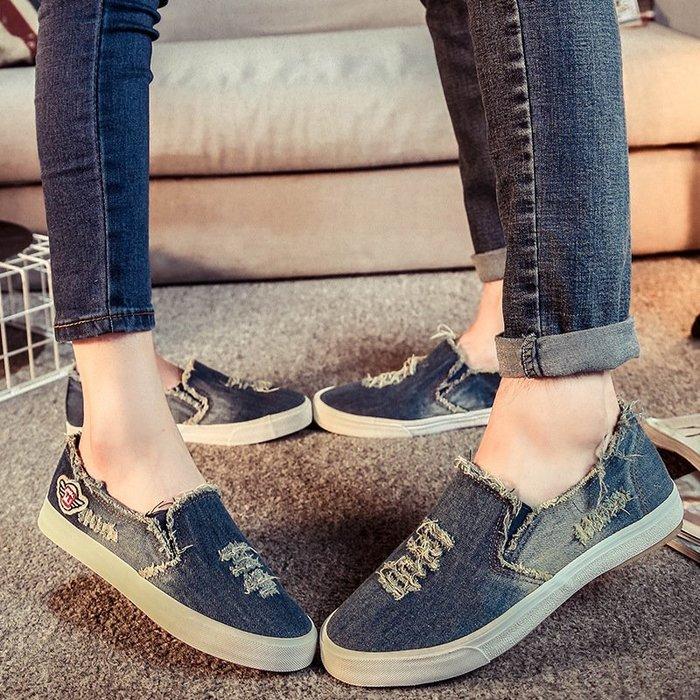 春夏季新款情侶鞋牛仔帆布鞋女休韓版潮懶人套腳單鞋子