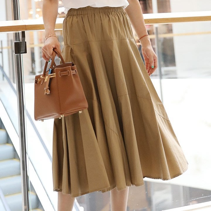 裙子 舒適感鬆緊腰大裙擺拼接流線A字傘狀長裙 艾爾莎【TAE8239】