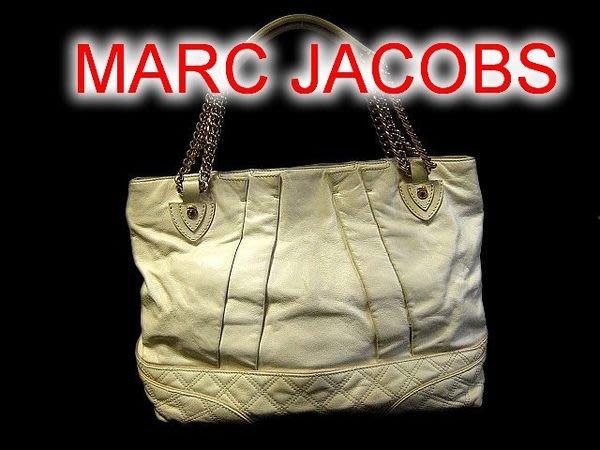 *Beauty*Marc Jacobs菱格紋米白色大方包 金鍊包