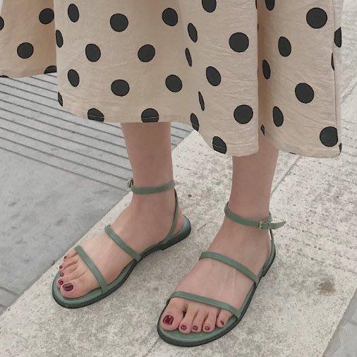 SeyeS 歐美英倫古著優雅氣質簡約細帶2色涼鞋