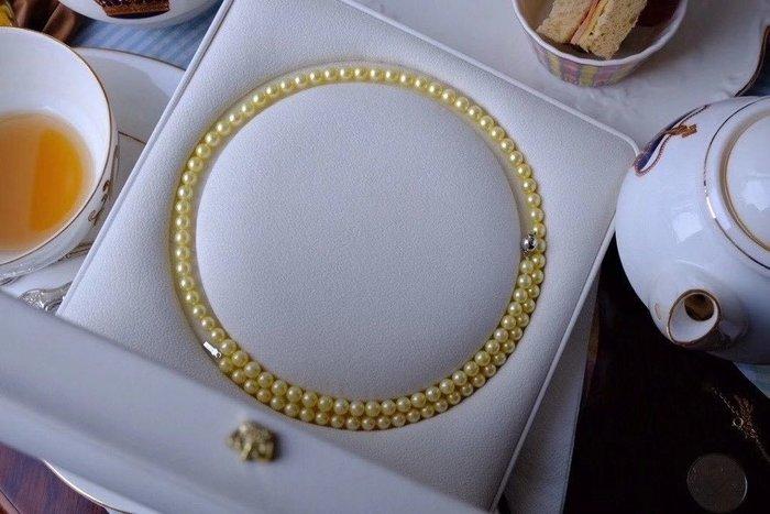 (輕舞飛揚)『經典的優雅日本阿科亞海水珍珠項鍊』天然海水珍珠,香檳金.6-6.5mm,總長60公分