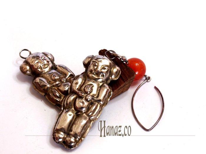 【銀囍古董老銀飾品】清代福娃成對/耳飾 包掛 項鍊綴飾/囝囝的期望與祝福