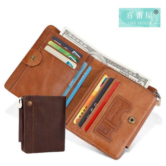【喜番屋】真皮頭層牛皮3折14卡位男士皮夾皮包錢夾錢包短夾男夾【LH602】