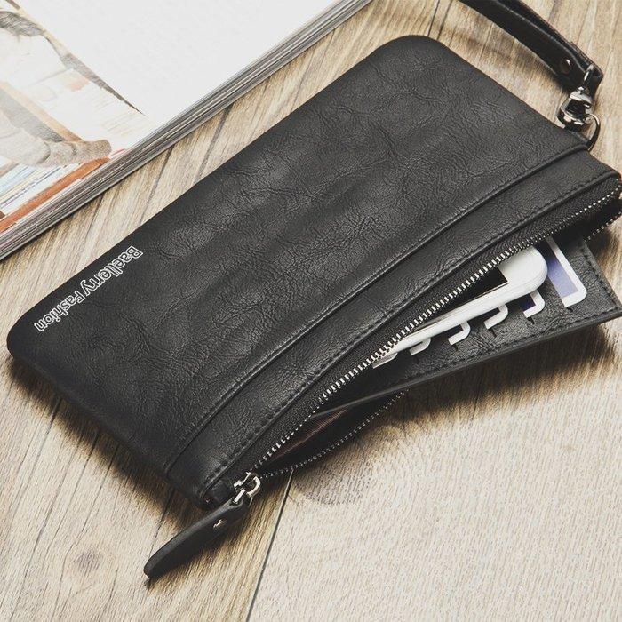 新款復古錢包男長款錢夾男士拉鏈超薄青年復古手包軟皮錢夾手機包 11NLD64
