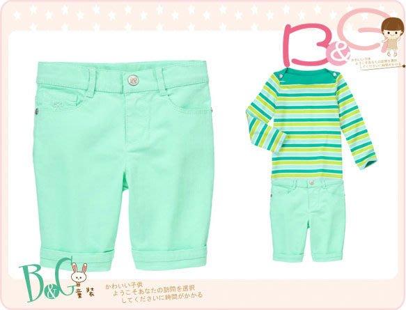 【B& G童裝】正品美國進口GYMBOREE Skinny Bermuda Shorts 綠色五分短褲7號6-7yrs