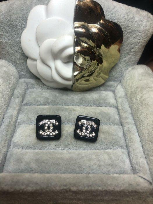 CHANEL 香奈兒 經典 二手 黑金 方形 雙C水鑽 簡約 耳環