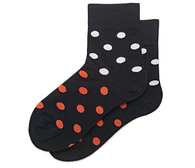 撞色波點黑色中統襪  水玉點點  黑色襪子  女襪  中統襪  運動襪  襪子  時尚 百搭【小雜貨】