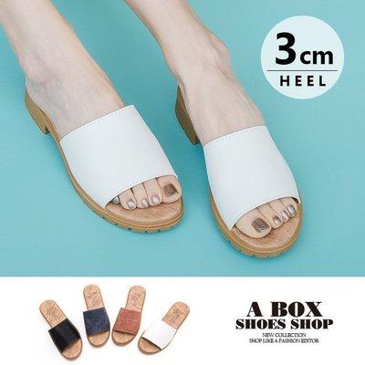 格子舖*【AW508】零碼36 夏季拖鞋 一字拖 舒適寬帶一字 3CM粗低跟 韓版時尚質感皮革 5色