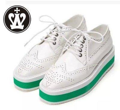 =WHITY=韓國FUPA品牌 韓國製  大牌時尚復古厚底鞋PRADO 真皮 ELVA有穿 S4GB332