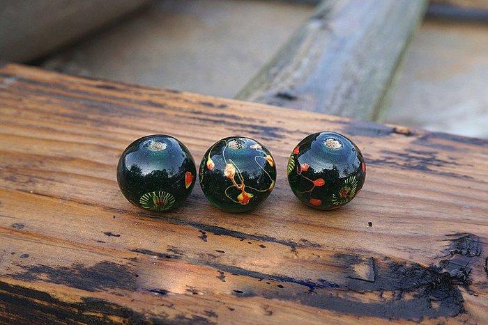 古玩老琉璃珠 純手工孔雀綠老綠色鳳眼老料珠20-22mm佛珠配珠散珠 本商品為單顆價格/下標請拍10顆