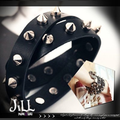 Oo吉兒oOPunk lolita時尚百搭街頭搖滾 歐美龐克風鉚釘不規則手環【J1U6012】