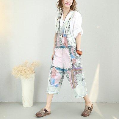 ||一品著衣|| 外單洗水薄棉吊帶褲復古寬鬆水洗做舊印花休閑連身褲吊帶褲QQ