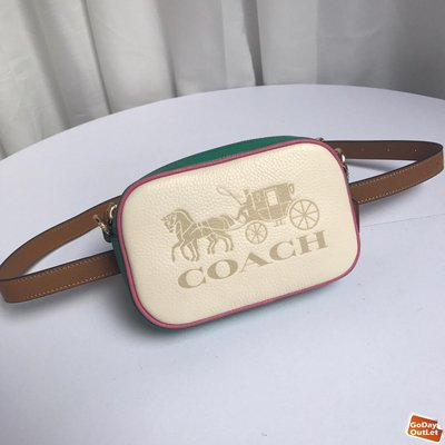 【GoDay+刷卡】COACH 寇馳75907 拼色寬版肩帶小相機包 2胸包腰包 綠色斜背包 女包 原裝正品 美國代購