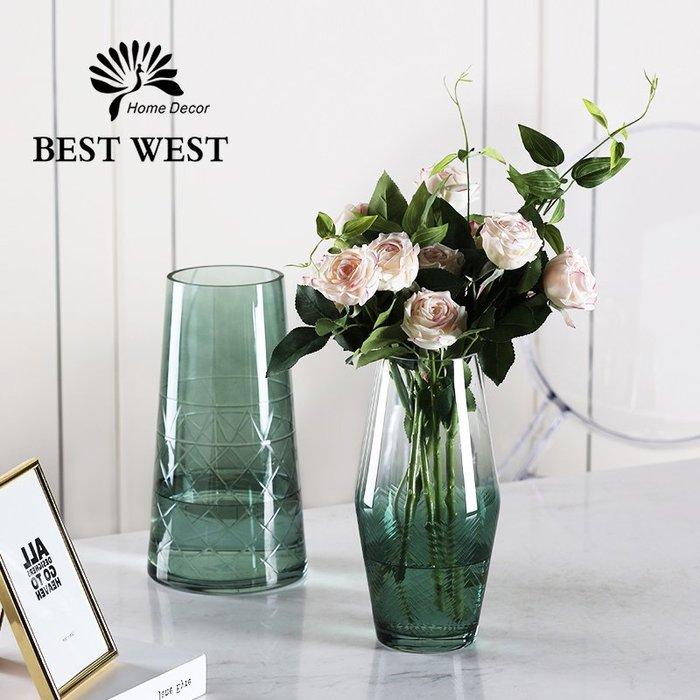 #創意 裝飾品 居家輕奢玻璃花瓶透明水培插花瓶擺件簡約現代客廳家用餐桌裝飾品創意